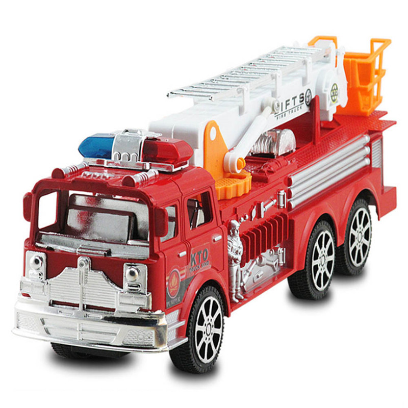 1:24 Fire Truck Toys Cool Baby Kids Toy Simulation Ladder Truck Fire Engine Model Toy Inertia Fire Ladder