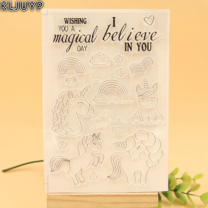 KLJUYP Magical Unicorns Transparent Clear Silicone Stamp/Seal for DIY scrapbooking/photo album Decorative clear stamp sheets lovely animals and ballon design transparent clear silicone stamp for diy scrapbooking photo album clear stamp cl 278