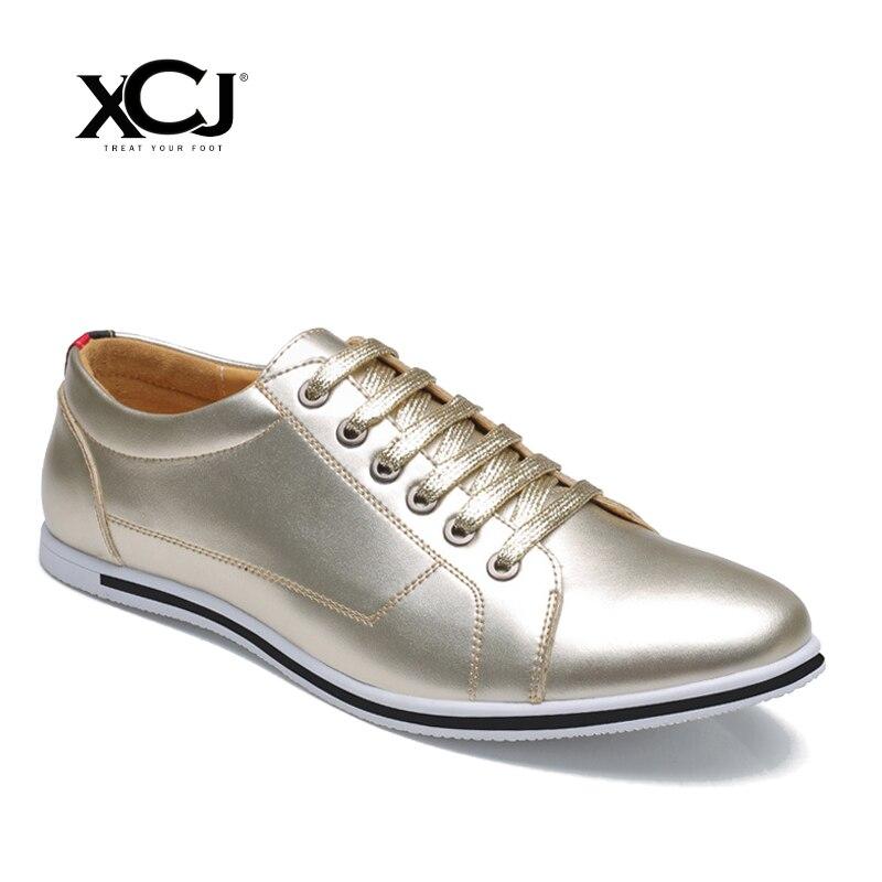 XCJ Men Casual Shoes Spring Autumn Brand Men Shoes Men Sneakers Plus Big Size High Quality Genuine Split Leather Flats Slip On цена