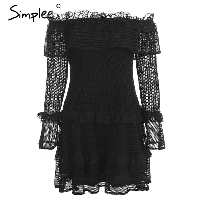 Off Shoulder Ruffle Lace...