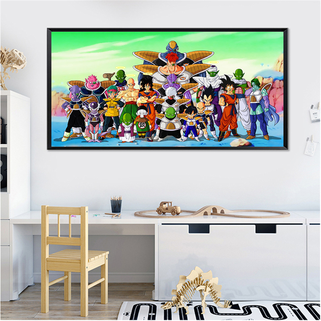 Dragon Ball Poster Goku Movie Anime Wall Art Japanese Big Canvas Painting Kids Room Pictures Home Super Saiyan
