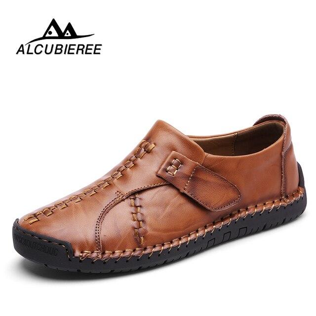 2018 nuevo cuero genuino hombres Loafers mocasín deslizamiento en zapatillas alta calidad Causal zapatos hombres adultos masculinos calzado barco zapatos