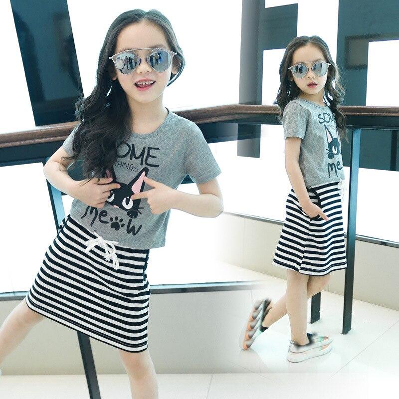 Girls Clothing Set T shirt Dress Set 2 Pieces Short Sleeve Cotton T shirt + Sleeveless Striped Dress Outfits Kids Clothes цена