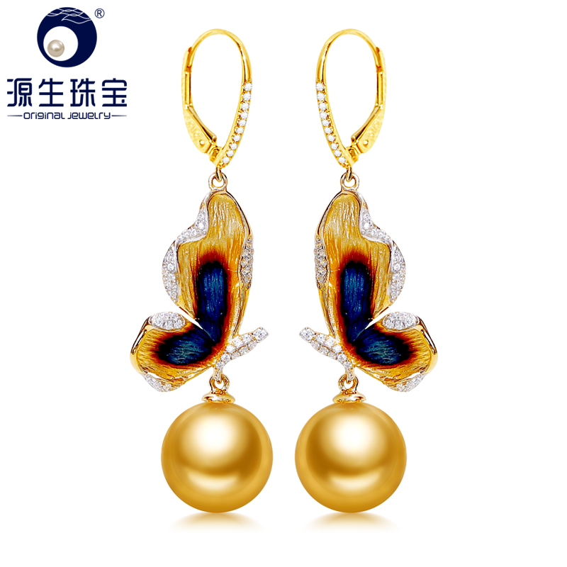 YS 14K Real Gold Elegant Butterfly Earring 10-11 mm Golden Saltwater South Sea Pearl Earring Hoop Wedding Anniversary Gift цена 2017