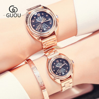 GUOU Luxury Rhinestone Women Man Watch Leisure Roman Retro Lovers' Dress Calendar Bracelet Bangle Quartz Woman Wristwatch Clock