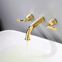 Gold Brass Wall Mounted Basin Faucet Two Handle Bathroom Mixer Tap Hot and Cold Faucet