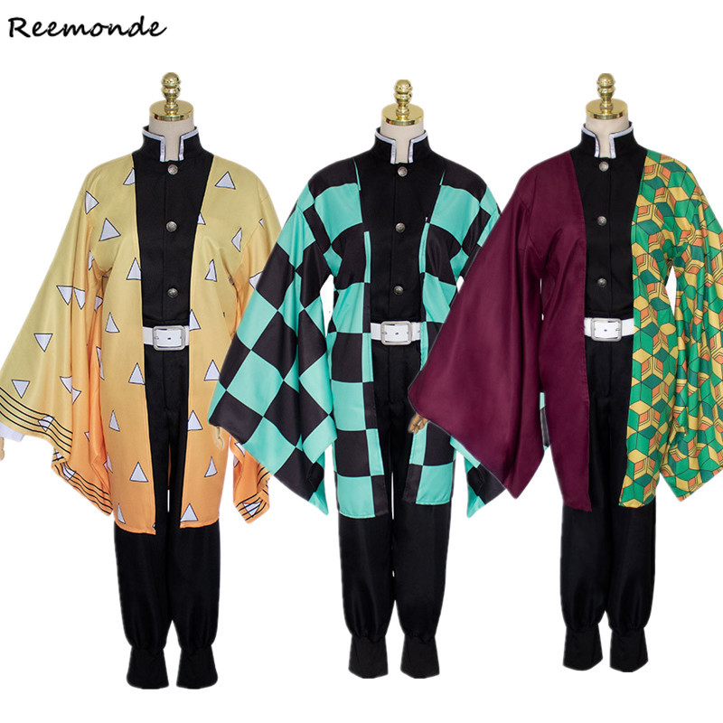Demon Slayer: Kimetsu No Yaiba Zenitsu Cosplay Costume Kamado Tanjirou Kimono Agatsuma Hoodies Sweatshirts Uniform Wigs Men Boy