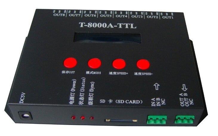 T8000A LED Contrôleur WS2811 WS2812B WS2813 APA102 Lumières de Bande de pixel contrôleur d'entraînement MAXIMUM 8192 pièces pixel D'IC avec Adaptateur secteur