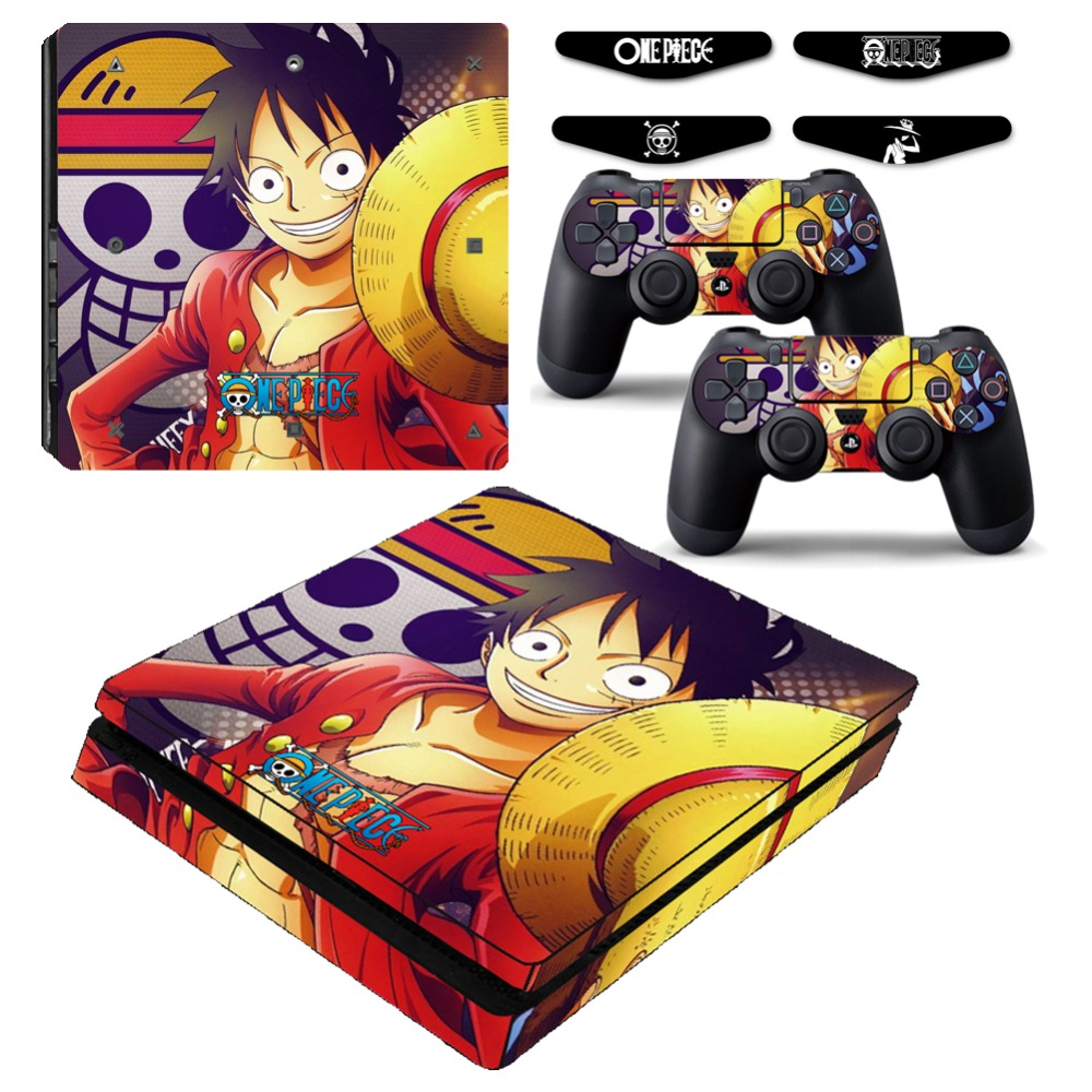 One piece luffy ps4 slim vinyl skin decal sticker cover case for sony playstation 4 slim console and controller led light bar