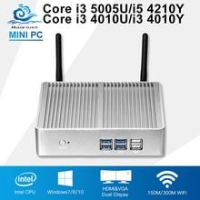Core HTPC Computer i3 5005U 4010U i5 Mini PC Computer TV box 500G HDD Wifi 4*USB3.0 Integrated Graphics