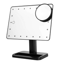 10X Magnifier LED Touch Screen Makeup Mirror Portable 20 LEDs Lighted Cosmetic Adjustable Vanity Tabletop Countertop