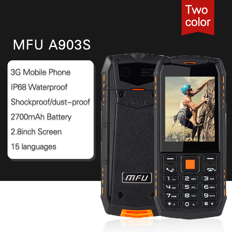 "MFU 3G WCDMA Rugged Feature Mobile Phone 2.8"" Large Display IP68 Waterproof GPRS Dual Camera SOS Call Speed Dial For Outdoor(China)"