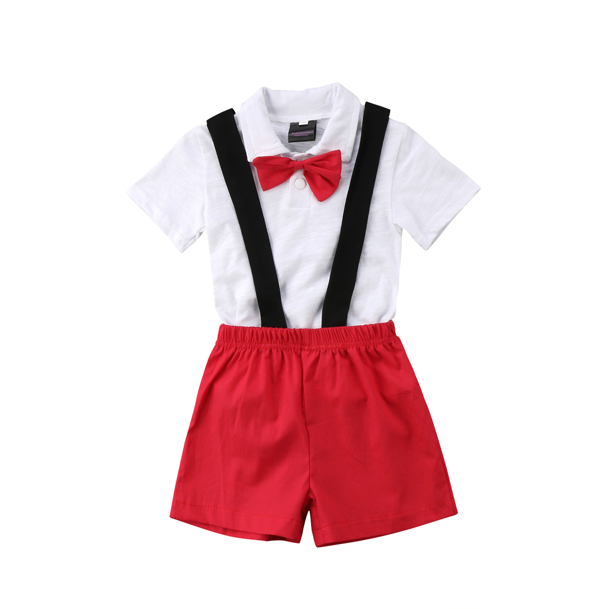 Newborn Infant Baby Boy Kid Gentleman T-shirt Tops+Bib Pants Outfits Clothes Set