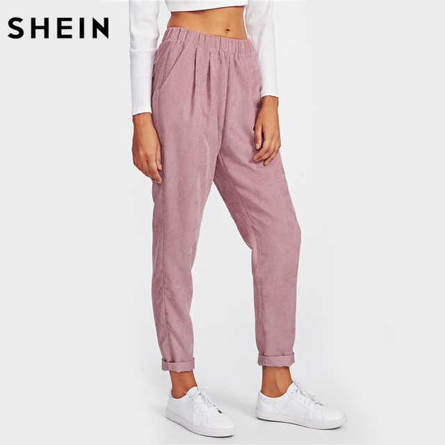 46afadbfc9 SHEIN Pink Faux Flap Pocket Back Cord Peg Pants Mid Waist Fall Womens  Casual Pants Elastic Waist Loose Trousers