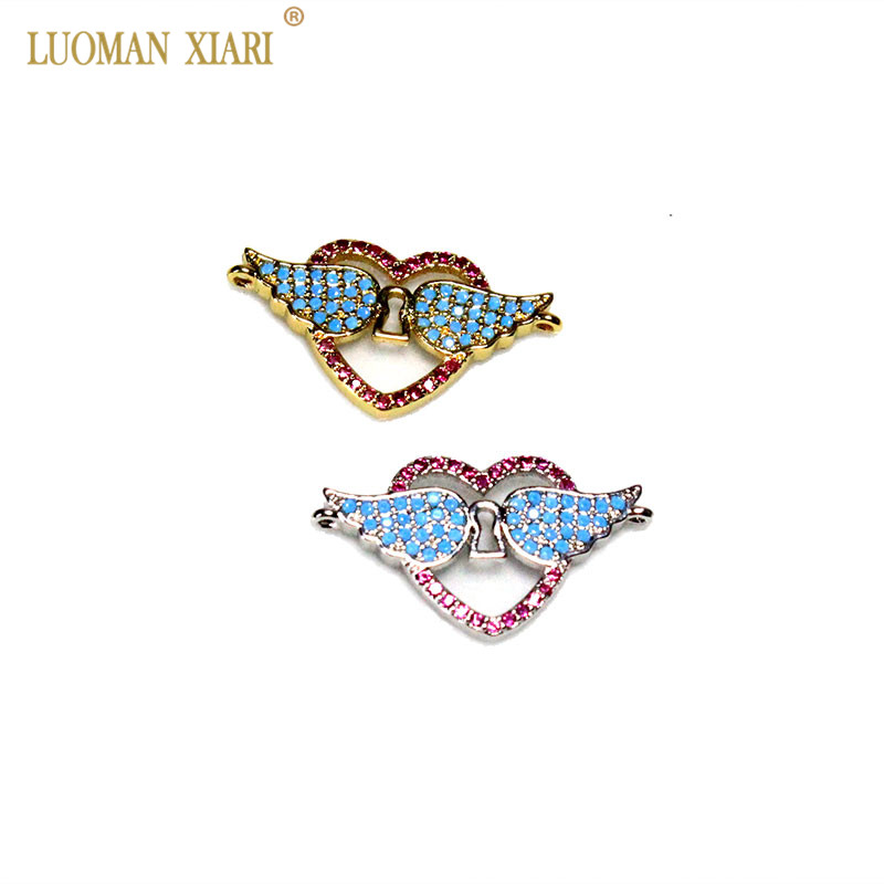 Fashion AAA CZ Rhinestone Copper Love Angel for Jewelry Making Diy Bracelets Necklace Simple Charms Spacer Beads DIY Accessories
