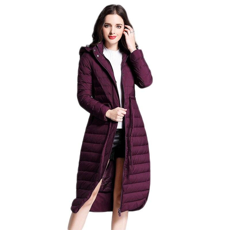 dark Doudoune Mince De Purple Duvet Nouvelles grey À D'hiver Taille cravate Capuchon pink Lh1151 Manteau Black 2019 Femme Longue Parkas Femmes Canard Hijklnl 1Sdwq1