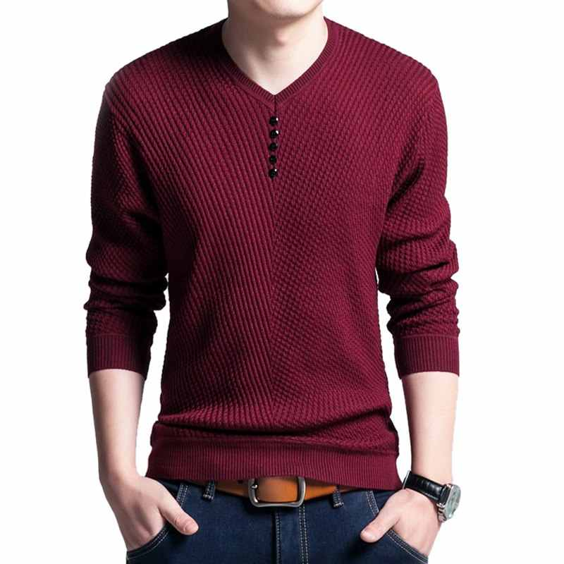 HEFLASHOR Autumn Button Solid Sweater Fashion Men Casual V-Neck Pullover Male Warm Slim Fit Long Sleeve Mens Knitted Sweaters