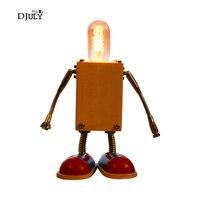 Novelty Table Lamp Wood Robot Shape Magnet Arm Children Bedroom Lamp Kids Holiday Gift Boys Dorm Room Desk Lamp Led Table Light