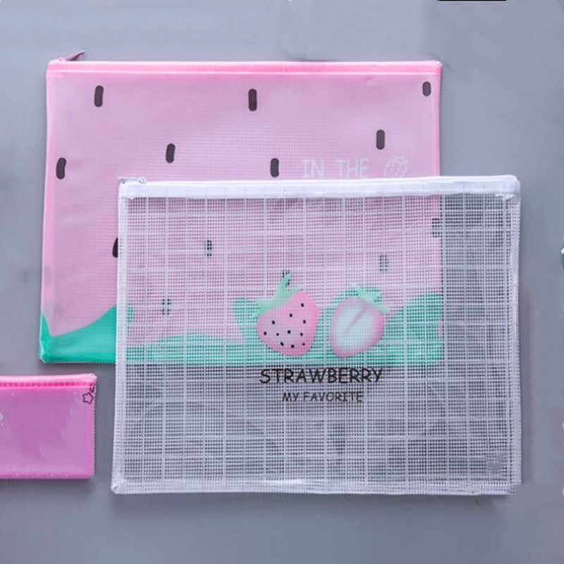 1pc Waterproof Paper File Folder Kawaii Fruit Pen Case for Girls office supplies