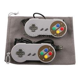 2 шт./лот! SNES USB контроллер игровой коврик джойстик с фланелевой сумкой для ПК Raspberry Pi 3 Model B Retropie