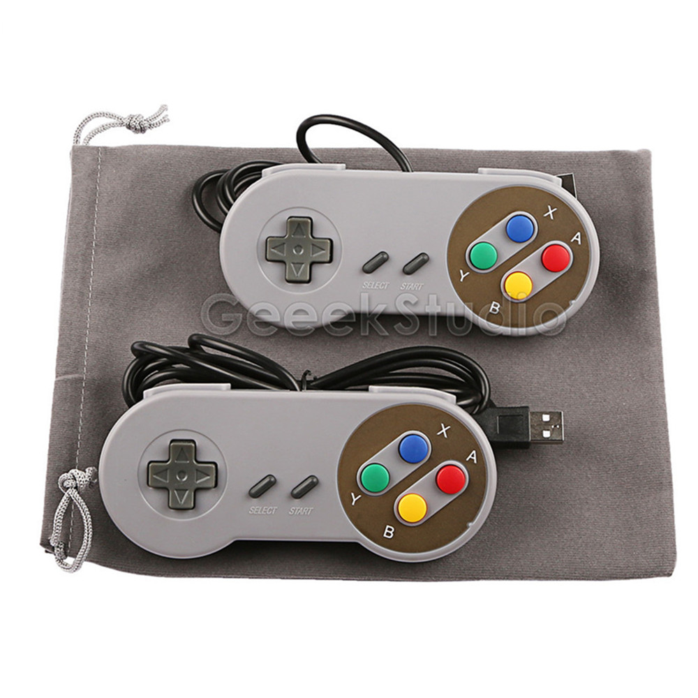 2PCS/Lot! SNES USB Controller Game Pad Joypad Joystick with Flannel Bag for PC Raspberry Pi 3 Model B Retropie