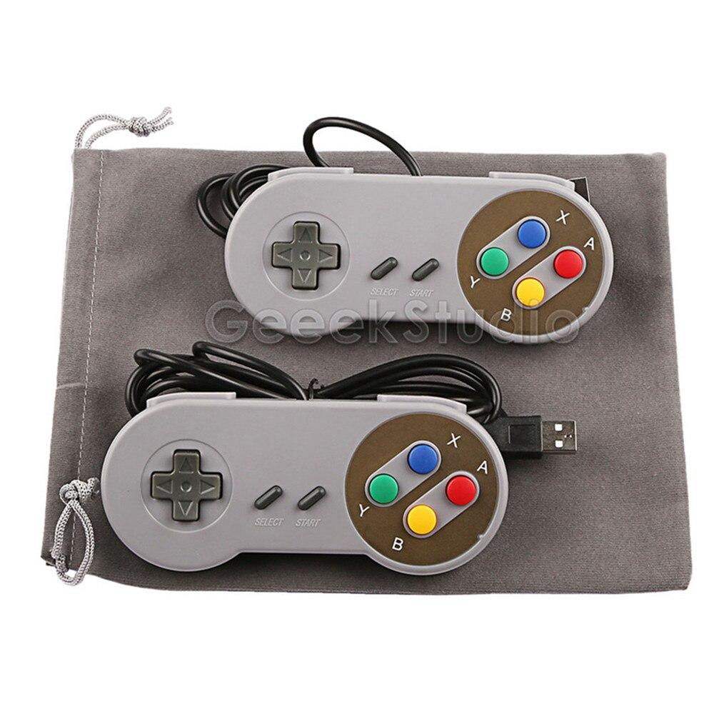 2PCS/Lot! SNES USB Controller Game Pad Joypad Joystick with Flannel Bag for PC Raspberry Pi 3 Model B Retropie(China)