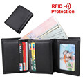 Cowhide!RFID Protection Men's Dollar Mini Wallets Black Leather Genuine More Card Holder Men Purse Fashion leisure Man Wallet