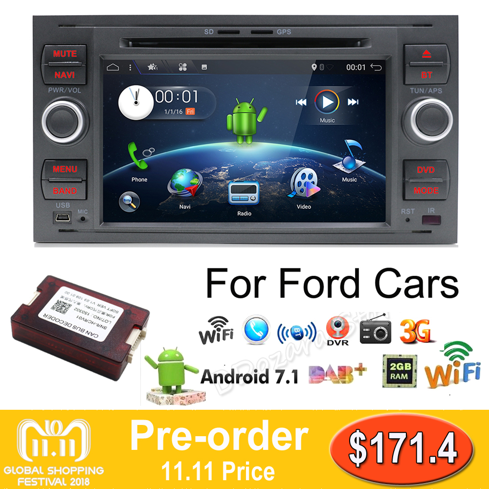 2 din Android 7.1 Quad Core Car DVD Player GPS Navi for FORD FOCUS/MONDEO/C-MAX with Audio Radio Stereo Head Unit Free Canbus seicane 2 din 10 1 android 7 1 android 6 0 quad core car radio gps navi stereo unit player for 2014 2015 hyundai ix25 creta