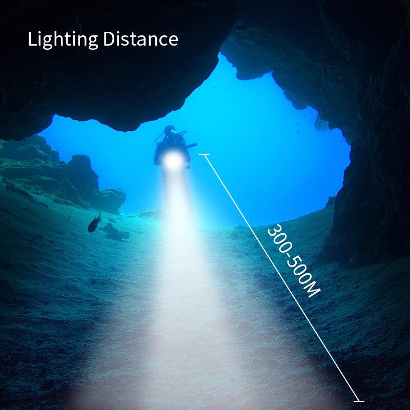 Nouveau lumineux 9000 Lumens sous marin 200 mètres plongée lampe de poche 6x XM L L2 lumière LED lampe torche de plongée 4x18650 - 2