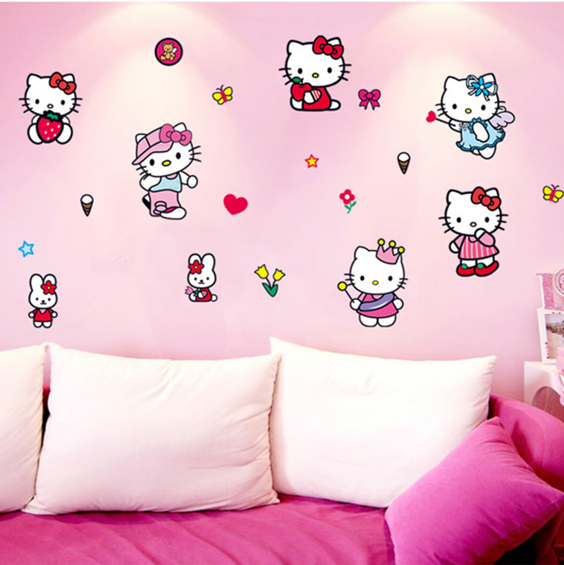 Online Shop Hello Kitty Wall Stickers For Kids Rooms Cartoon Room - Hello kitty wall stickers