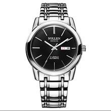 SOLLEN 41mm diámetro tabla masculina mecánica automática fashion business reloj de hombre tira impermeable reloj de rostro negro aguja