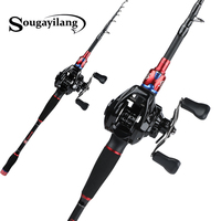 Sougayilang 1.8m 2.1m 2.4m Fishing Rod and Baitcasting Reel Carbon Spinning Lure Rod and Casting Fishing Reel Sets