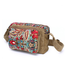 Women Ladies Soft National Wind Retro Print Bag Diagonal Female Oxford Cloth Flower Canvas Messenger Crossbody Bags Hamdbags