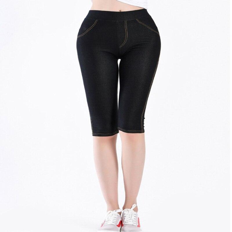 Shikoroleva Women's   Leggings   Summer 3/4 Capris Elastic Cotton Intimation Denim Jeans Jeggings Black Blue Plus Size 5XL 4XL XL