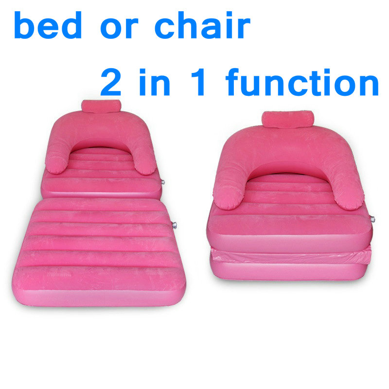 Pink Flocking inflatable sofa bed dual lounger folding pajamas lazy sofa seat,2 in 1 functional foldable beds can be chair too 2016 hot sale factory price hotel extra folding bed 12cm sponge rollaway beds for guest room roll away folding extra bed
