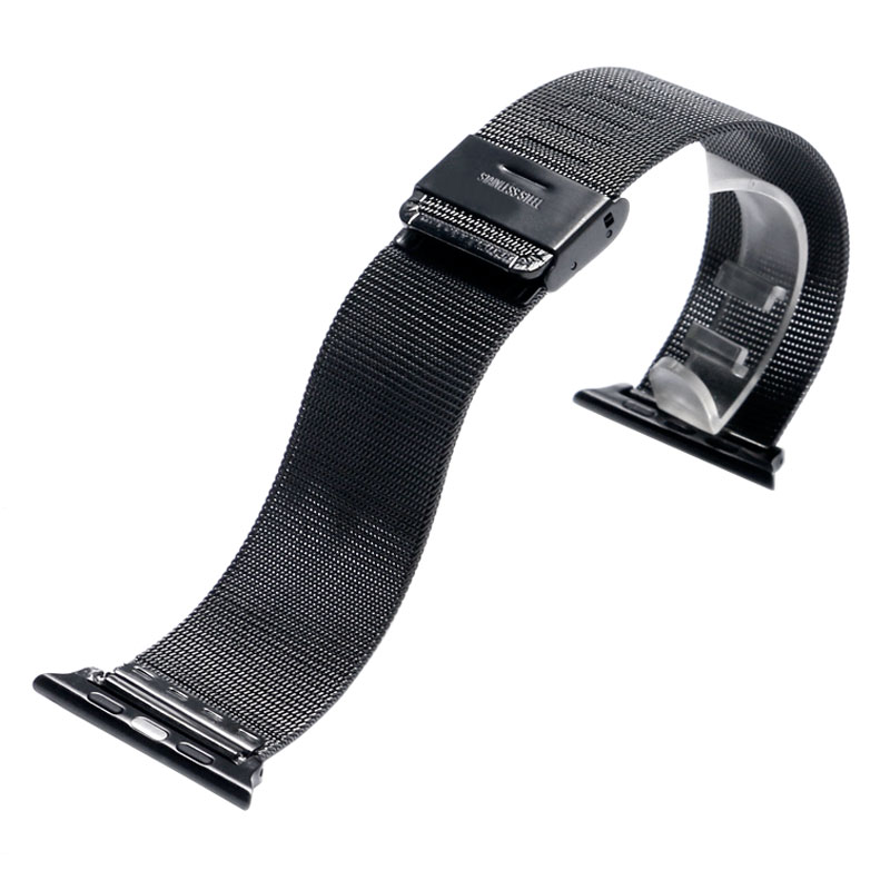 38/42mm Watch Band Strap for Apple Watch Luxury Black/Silver Stainless Steel Mesh Watchband Connector Adapter for iwatch Bands ysdx 398 fashion stainless steel self stirring mug black silver 2 x aaa