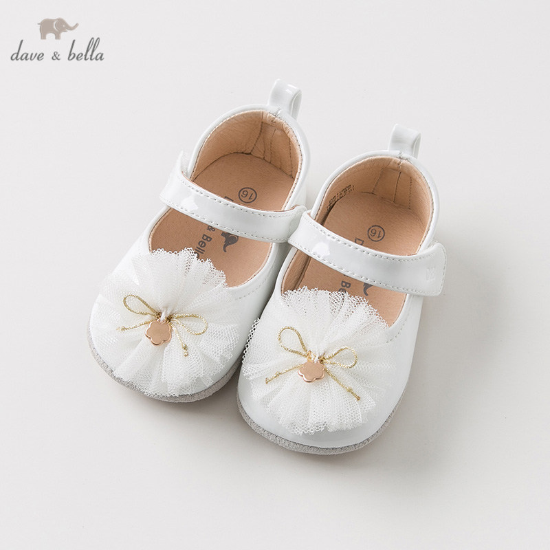DB11608 Dave Bella Spring Autumn Baby Girl Flower Leather Shoes Children Brand Shoes