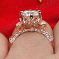 Real 750 Rose Gold Noble Designer Customized Jewelry 5CT Synthetic Diamond Ring Wedding Bride Engagement Solid Rose Gold Jewelry