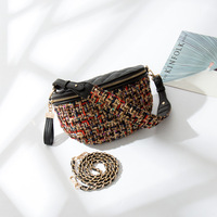 CAJIFUCO 2018 New Waist Bag Wool With PU Leather Fanny Pack Women Crossbody Bags Chain Strap Belt Purses