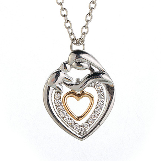 Mum Heart Necklace Rhinestone Pendant Chain
