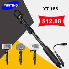 Yunteng 188 YT-188 Extensible de Mano Telescópico Monopod Para GOPRO Go pro hero 4 3 + 2 1 xiaomi yi sjcam sj4000 gs13 + adaptador