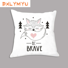 Plush Cushion Child Gifts Cartoon Llama Fox Arrow Be Brave Dream Quote Print Pillow For Sofa Seat Kids Room Decor