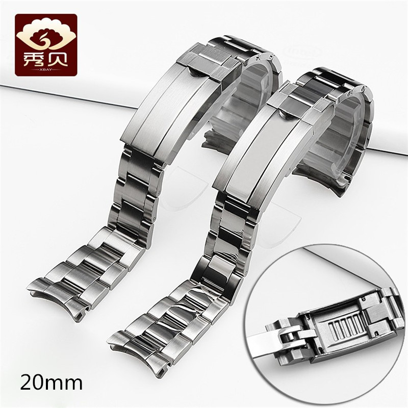 High quality 316L Stainless Steel Watchband Brushed Silver Bracelet with Glidelock Buckle 20mm for RX Watch