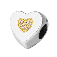 Fits Pandora Bracelet 925 Sterling Silver Jewelry Signature Gold Heart Charm with Clear CZ beads Women Jewelry DIY Accessories
