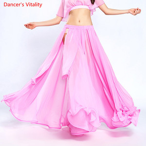 Image 3 - Женская юбка для танца живота сплошной цвет восточный танец костюм с высоким вырезом индия болливуд односторонняя сплит танец живота длинная юбка