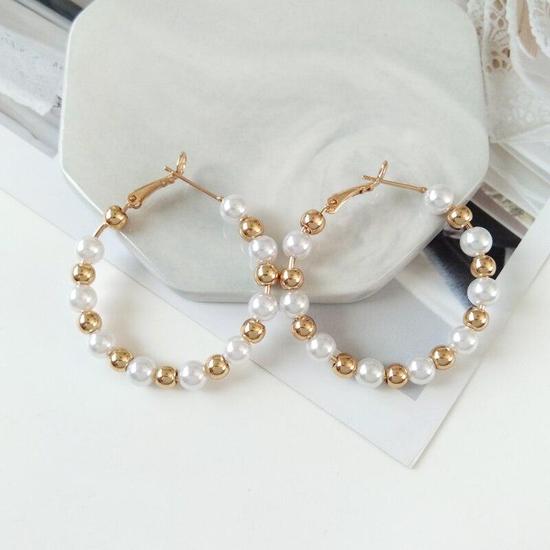 Kshmir Fashion women 39 s jewelry earring Pearl collocation fashion earrings Geometric restoring ancient ways round earrings in Stud Earrings from Jewelry amp Accessories