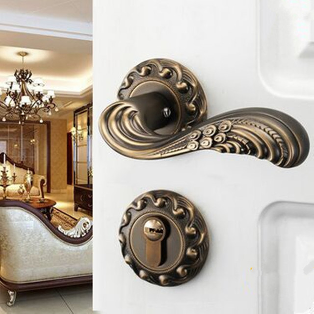 Vintage Style Antique Brass Indoor Wooden Door Locks 24K Gold Bedroom  Bookroom Door Handles Modern Fashion