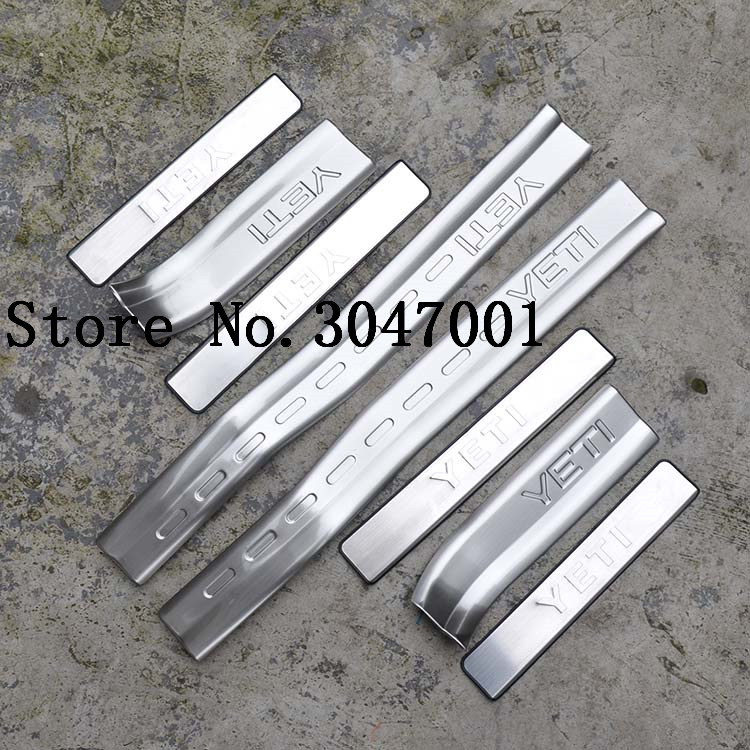 High quality stainless steel inside external Scuff Plate/Door Sill Protector Sticker Car Styling For 2013-2016 Skoda yeti(8pc) free shipping 2015 byd s7 high quality stainless steel thicken scuff plate door sill