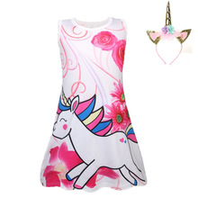 2019 New Baby Kids Dresses Girls  Dress Sleeveless Clothing Children Princess Party Dress elegant Unicorn Clothes цена в Москве и Питере