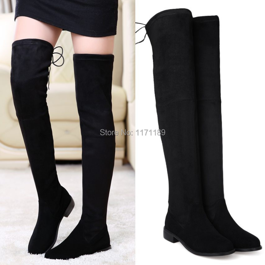 f7576935a4c Womens Leather Thigh High Boots Flats Oxfords Slim Leg Tall Calf Over the  Knee Booties Party Pumps Casual Shoes size 5 6 7 8-in Over-the-Knee Boots  from ...